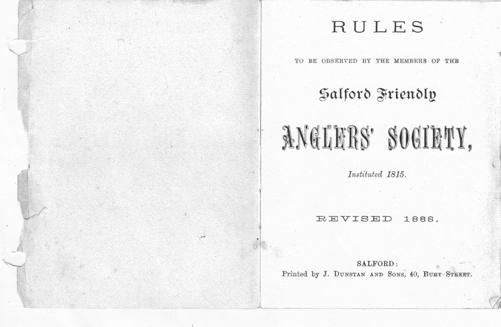 Salford Friendly Anglers Rule Book 1888