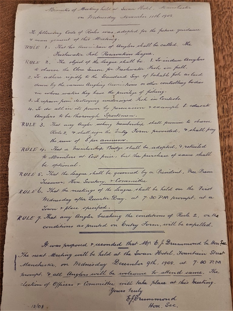 Hand Written Minutes Of The First Meeting Of The Freshwater Fish Preservation League