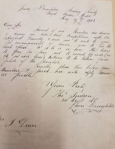 Challenge Letter From Broughton Anglers 1903