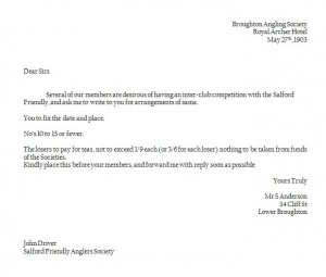 Translated Copy of letter from Broughton Anglers 1903