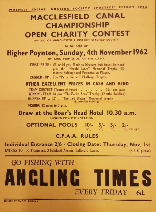 Macclesfield Canal Angling Championship 1962 Poster
